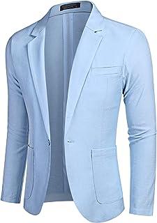 COOFANDY Men's Casual Linen Suit Jacket One Button Lightweight Sport Coats