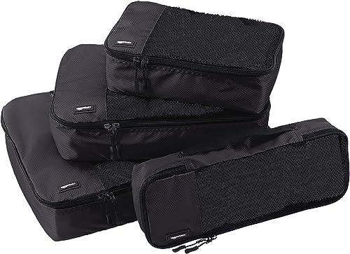 AmazonBasics, Juego de 4 cubos organizadores de equipaje (pequeño, mediano, largo y fino), Negro