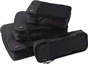 AmazonBasics 4 Piece Packing Travel Organizer Cubes Set, Black