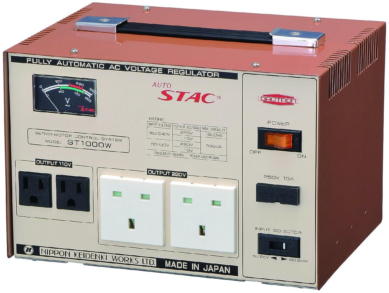 ゴミ箱を空にする湖船員アップダウントランス (1000VA:220V?220V) (500VA:110V?220V) 変圧器 自動電圧安定器 日本製 ST1000W