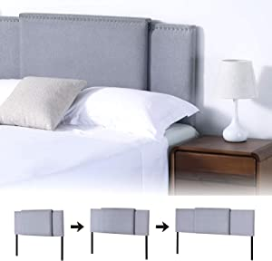 KOTPOP Linen Headboard, Adjustable Sizes 3 in 1 Upholstered Rectangular Headboard,Modern Breathable Fabric with Nailheads for Full/Queen/King Size, Optional Heights from 37