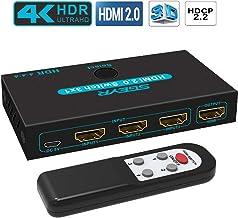 HDMI Switch 4K 60Hz, SGEYR Conmutador HDMI Switcher 3 Puertos con Control Remoto, Automático Switch 3 Entradas a 1 Salida, Soporta UHD 3D 1080P, HDR para PS 3/4 XBOX, DVD, HDTV, proyector
