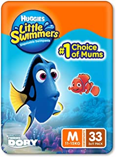 Huggies Little Swimmers Swim Nappy, Medium (11-15KG), 33 Swimming Nappies (3 x 11 Pack)