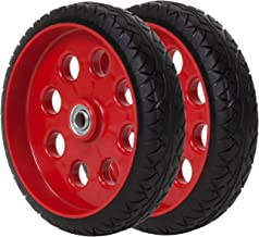 Cosco 10 Inch Low Profile Replacement Wheels for Hand Trucks, Flat-Free, (Red, 2 Pack)