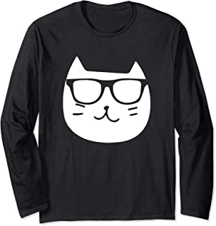 Glasses Meme Funny Cat Hipster Drawing Long Sleeve T-shirt