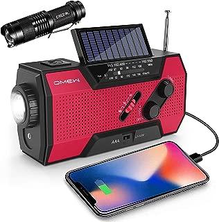 Emergency Weather Radio,Omew Portable Solar Hand Crank NOAA Weather Radio with AM/FM, LED Lamp & 2000mAh Power Bank Phone Charger & SOS Alarm and Waterproof Handheld Flashlight