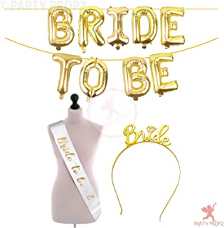 Party Propz Bride To Be Latex Balloon, 1 Bride To Be Golden Foil Balloon+1 Bride To Be White Sash+1 Bride To Be Tiara, White