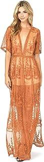 Haute Monde Women's Special Occasion Low Neckline Sheer Lace Maxi Dress