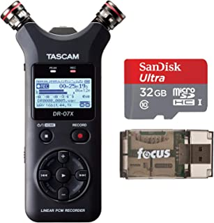 Tascam DR-07X Stereo Handheld Digital Audio Recorder and USB Audio Interface Bundle with 32GB MicroSD Card and Focus USB 2.0 Card Reader