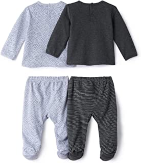 Boys Pack Of 2 Cotton Dog/French Slogan Print Sleepsuits, Birth-3 Years