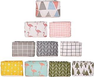 Viesap panier rangement tissu, 10 paquets panier de rangement, Petit Panier de Rangement Pliable en Lin avec Poignées et ...
