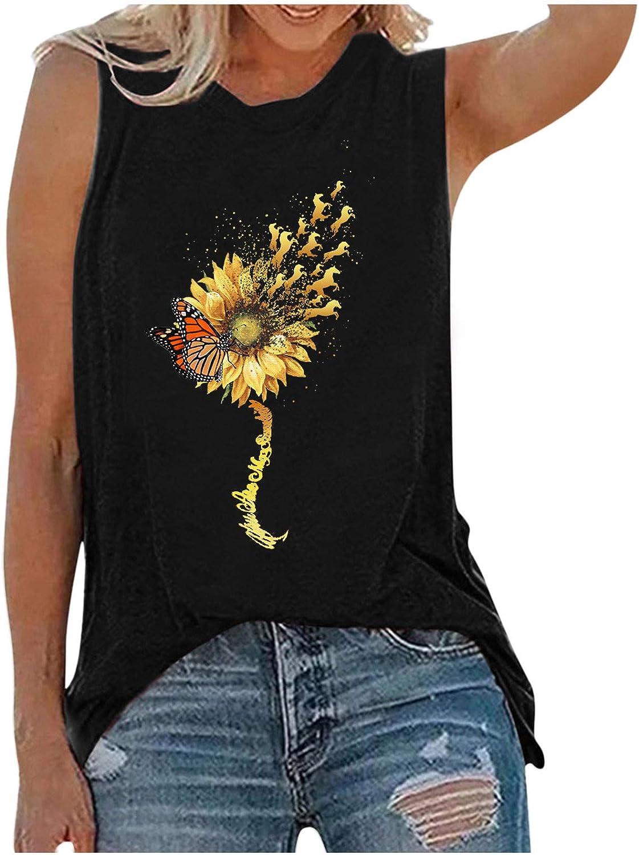 Summer Tops for Women,Womens Summer Vintage Cute Flower Printed Vest Round Neck Sleeveless Tshirt Tops Tunic