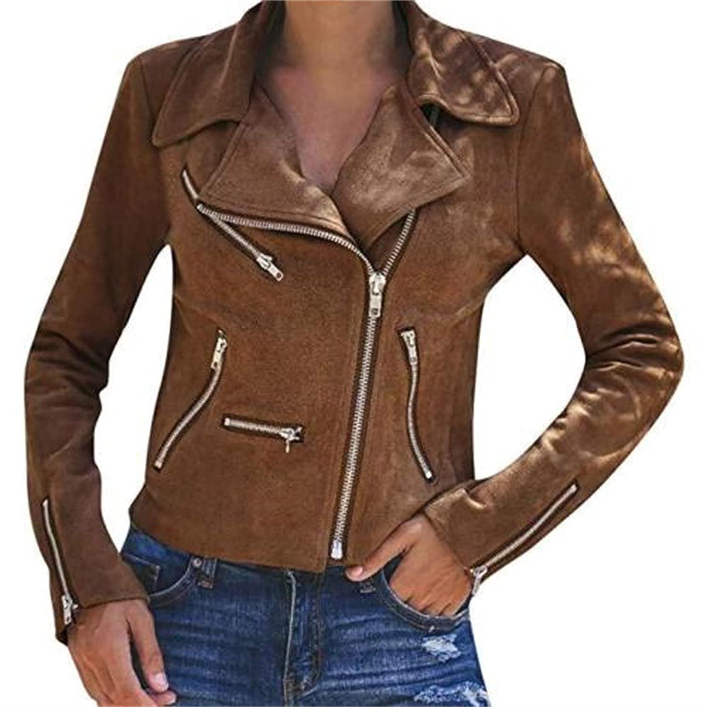 Women's Faux Leather Moto Biker Short Coat Jacket Womens Zipped Notch Collar PU Leather Jackets Outwear (X-Large,Khaki)