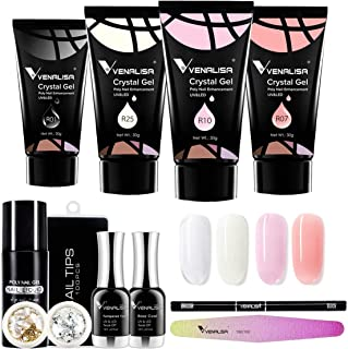 VENALISA Nail Art Salon Jelly Color 30g Blanco Transparente Rosa Natural Poli Gel Base Templada Top Coat Nail Lima Pincel ...