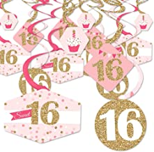 Big Dot of Happiness Sweet 16-16th Birthday Party Hanging Decor - Party Decoration Swirls - Set of 40