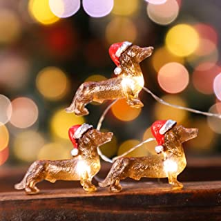 Impress Life Dachshund Santa Decorative String Lights, 10ft 30 Pet Theme LED Twinkle Lights, USB Battery Operated with Rem...