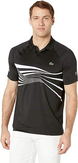 Novak Djokovic Short Sleeve Ultra Dry Center Geo Print Graphic Polo