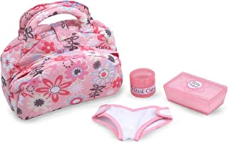 Melissa & Doug Mine to Love Diaper Bag Set (Fabric Bag with Two Compartments, Self-Stick Cloth Diaper, 10.75