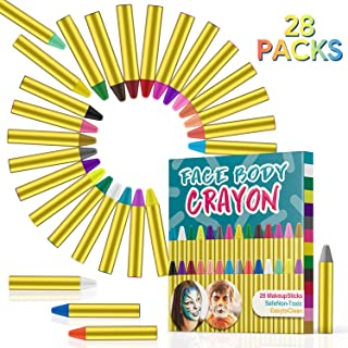Sumille Face Painting Crayons Kit, 28 Colors Cosmetic Grade Face Body Paint Sticks Easter Halloween Party Makeup Crayons for Kids and Adults