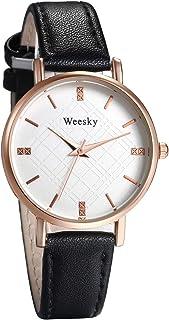 JewelryWe Womens Simple Analog Round Quartz Watch PU Leather Casual Wristwatch