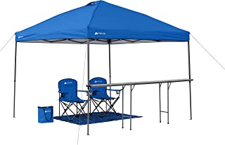 Easy to Set up Ozark Trail 10' x 10' Lighted Tailgate Instant Canopy Combo,with Attachable Table with Bottle Opener,2 Chairs,Cooler and Footprint All in Convenient Rolling Carry Bag,Blue