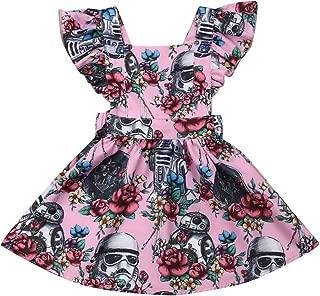 Toddler Baby Girls Dress Clothes Floral Star Wars Tutu&Sunflower Ruffled Sleeve Dresses Casual Sundress