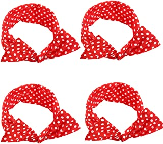 AHONEY 4 Pack Red Bow Headbands for Women Retro Bowknot Polka Dot Wire Hair Holders for Women