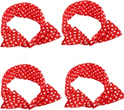 AHONEY 4 Pack Red Headbands Retro Bowknot Polka Dot Wire Hair Holders for Women