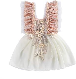 Toddler 0 – 24 mois Toddler Newborn Baby Girl Dress Square Neck Sans manches en dentelle Flower Princess Tutu Skirt Party ...