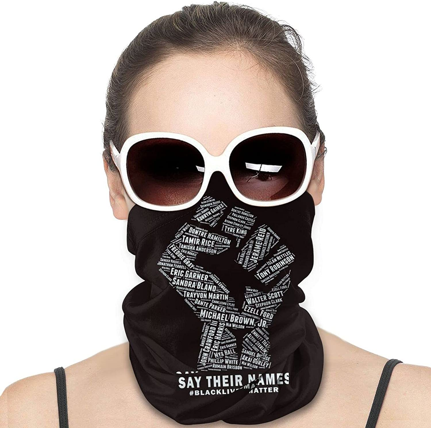 Say Their Name Round Neck Gaiter Bandnas Face Cover Uv Protection Prevent bask in Ice Scarf Headbands Perfect for Motorcycle Cycling Running Festival Raves Outdoors
