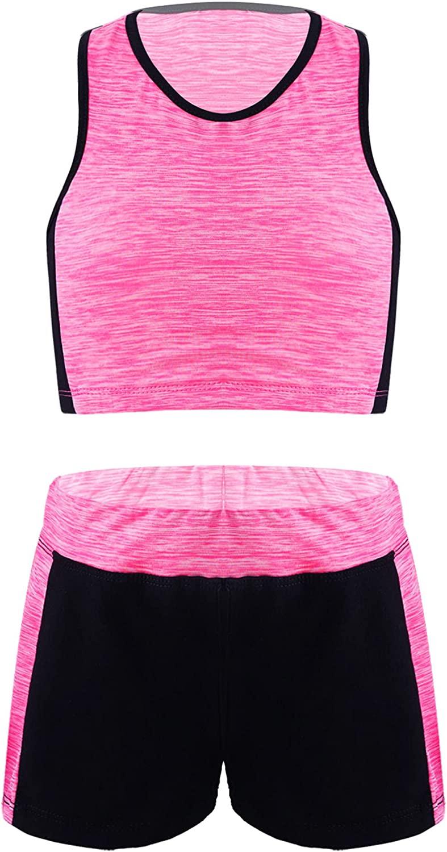 TiaoBug Kids Girls Racerback Tank Tops and Sports Shorts Activewear Set 2 Pieces Running Training Tracksuit Tennis Set