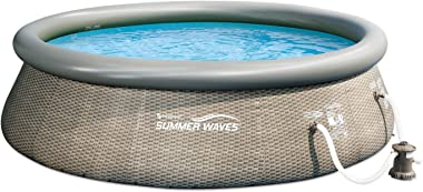 Summer Waves 14ft x 36in Quick Set Above Ground Inflatable Outdoor Swimming Pool with Filter Pump, Ladder, and Filter Cartrid