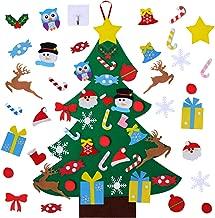 Supla 3 Feet DIY Felt Christmas Tree Set with 30 Pcs Removable Felt Christmas Ornaments for Hanging Wall Decoration Kid's Craft Holiday Xmas Gift Educational Toy Preschool Activity
