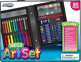 ArtSkills Mega Art Set, Arts and Crafts Supplies, Includes Colored Pencils, Stencil Letters, Markers, Watercolor Paint, Crayons, 80 Pieces