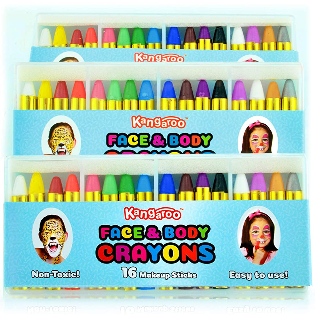 Kangaroo's Face Paint Crayons for Kids, 16 Colors Face & Body Painting Makeup Crayons, Safe for Sensitive Skin, Metallic & Classic Colors, Great for Birthday Party's Fundraisers & Halloween