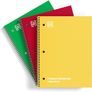 TRU RED TR58375M 1-Subject Notebook 8-Inch x 10.5-Inch College Ruled 70 Sheets Assorted Colors