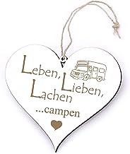 Bord Hart Leben, Lieben, lachen - Campen - met caravan gravure - 13 x 12 cm