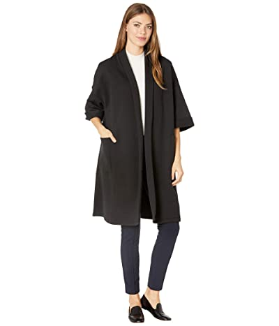 Eileen Fisher High Collar Elbow Sleeve Jacket (Black) Women
