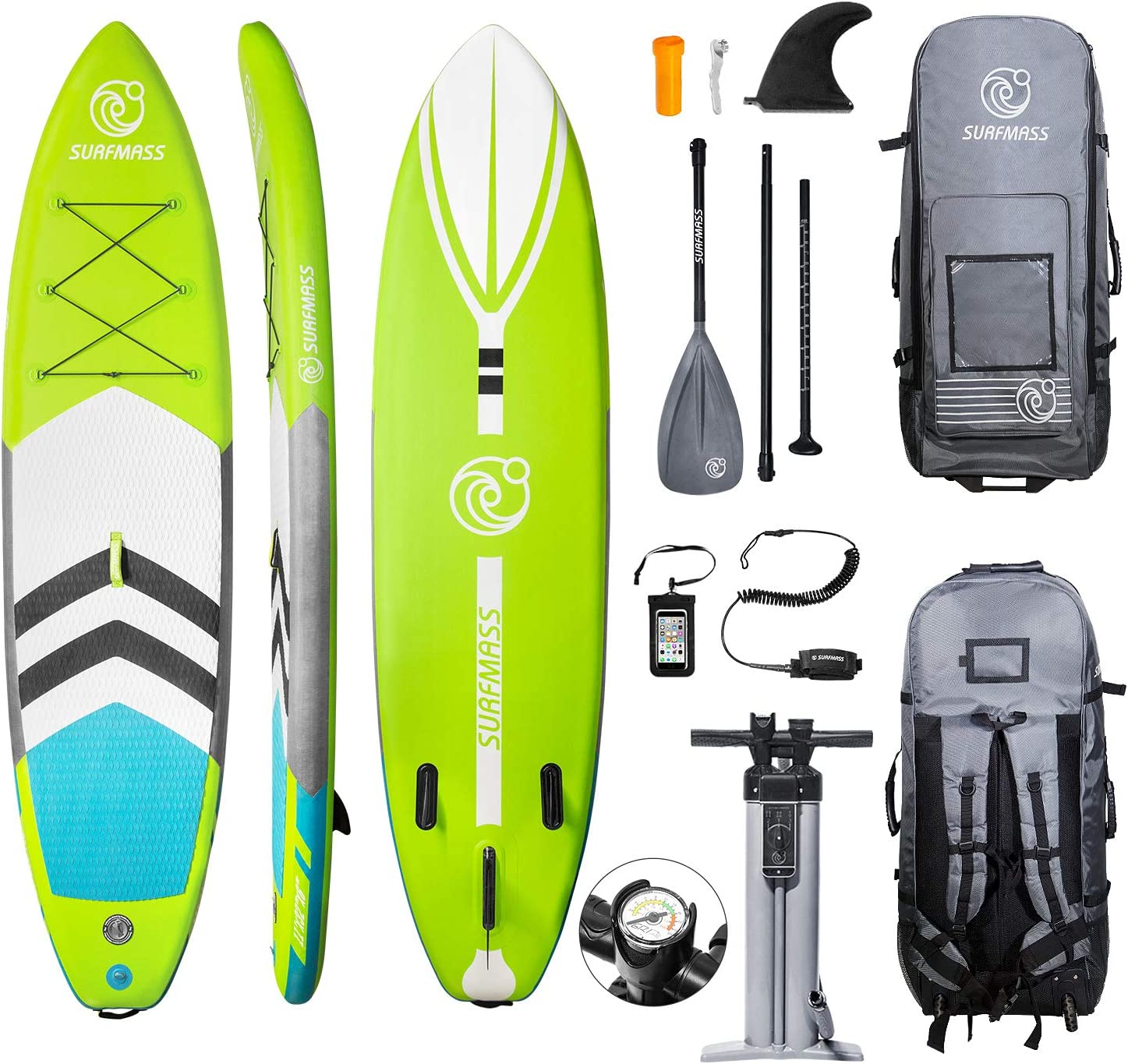 """SURFMASS Inflatable SUP Excellence 11' L x 32"""" Stan 6"""" shipfree T W"""