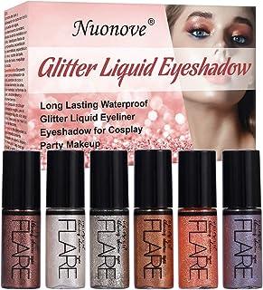 Liquid Glitter Eyeliner, Sombras de ojos brillantes, Sombras de ojos, Glitter Liquid Sombra, Impermeable Eyeliner Shimmer Pigmento Lápiz de Color Metalizado Líquido Glitter Eyeliner 6 colores