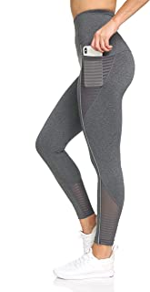 Nicole Miller New York Women's 7/8 Workout Pants- Leggings with Reflective Piping, Mesh & Pockets, Yoga