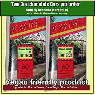 Jouvay Dark & Sweet Chocolate Bar (60% Cocoa Content) - 2 Bars @ 3.5 oz ea - Product of Grenada