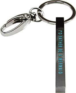 (Gift Boxed) ST Collection Women's -I'd Rather BE A Mermaid- Message Bar Pendant Key Chain