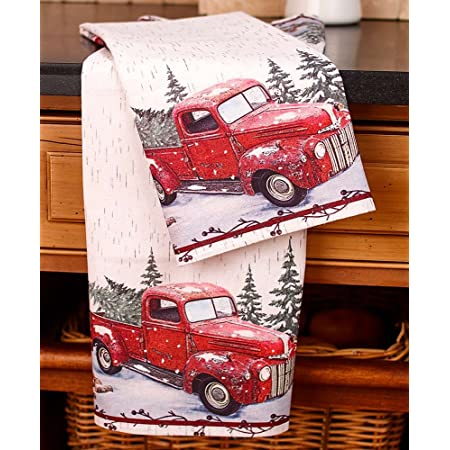 Kitchen Dish Hand Towels Dog Cat Animals Vintage Red Truck Christmas Tree Set