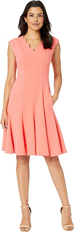 Scuba Crepe Scallop Neck Fit & Flare Dress