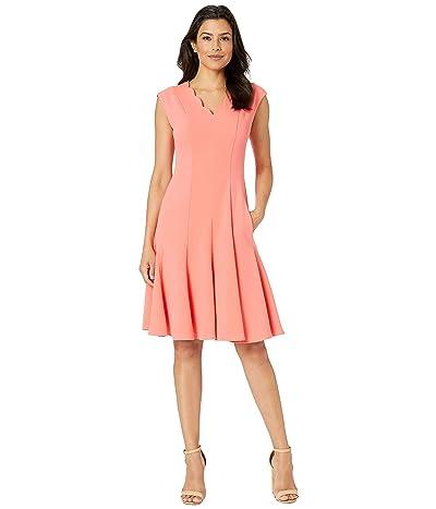 Maggy London Scuba Crepe Scallop Neck Fit Flare Dress (Coral) Women
