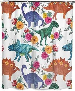 Dimaka Water Resistant Fabric Shower Curtain, Bathroom Decoration Design Decor, Cute Cartoon Dinosaur Animal Floral Print Shower Curtains for Girls and Kids[Education](71