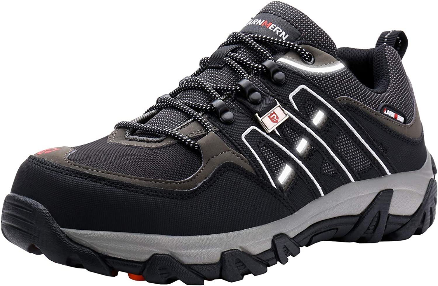 LARNMERN Steel Toe shoes Men, Safety Work Reflective Strip Puncture Proof Footwear Industrial & Construction shoes