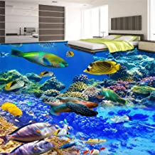 HZDDR World Fish Turtle murals in Wall Sticker 3D Wallpaper for Living Room PVC Waterproof Floor self-Adhesive Wall paper-120x110cm