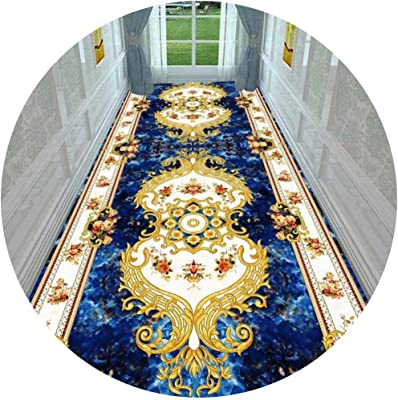 Hallway Runner Rug Long Runner Rugs Corridor Carpet 3D European Style Strip Home Living Room Bedroom Bedside Stairs Can Be Cut (Color : A, Size : 0.6X6M)
